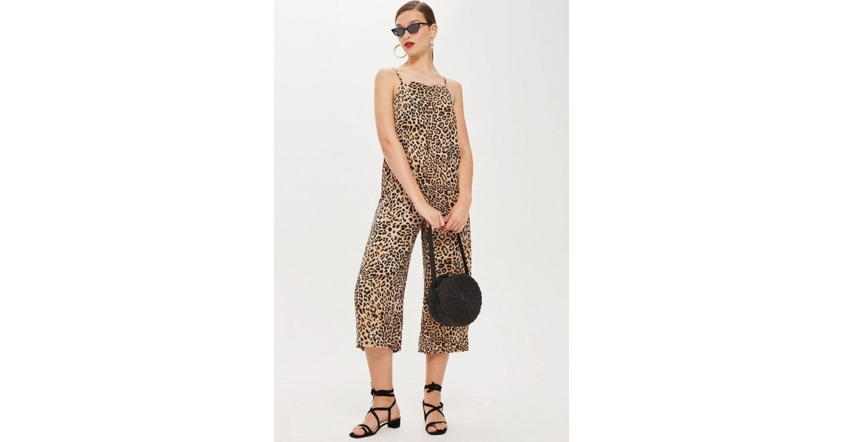 413d3a4871d Lyst - TOPSHOP Animal Print Satin Jumpsuit in Brown