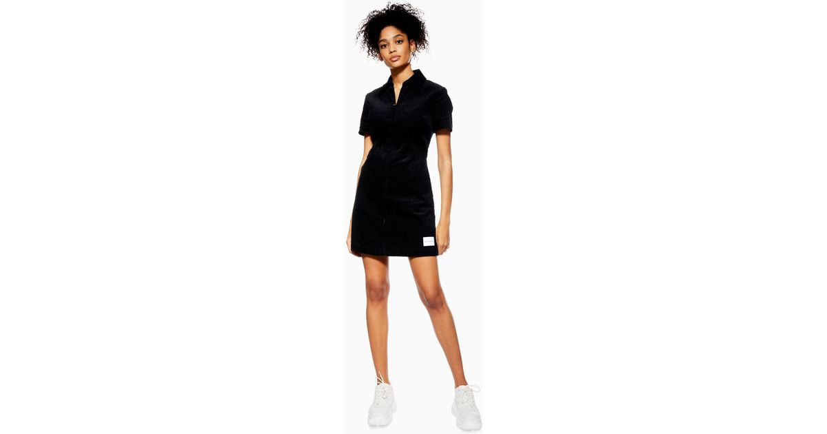 06dc1a717ba TOPSHOP Corduroy Dress By Calvin Klein in Black - Lyst