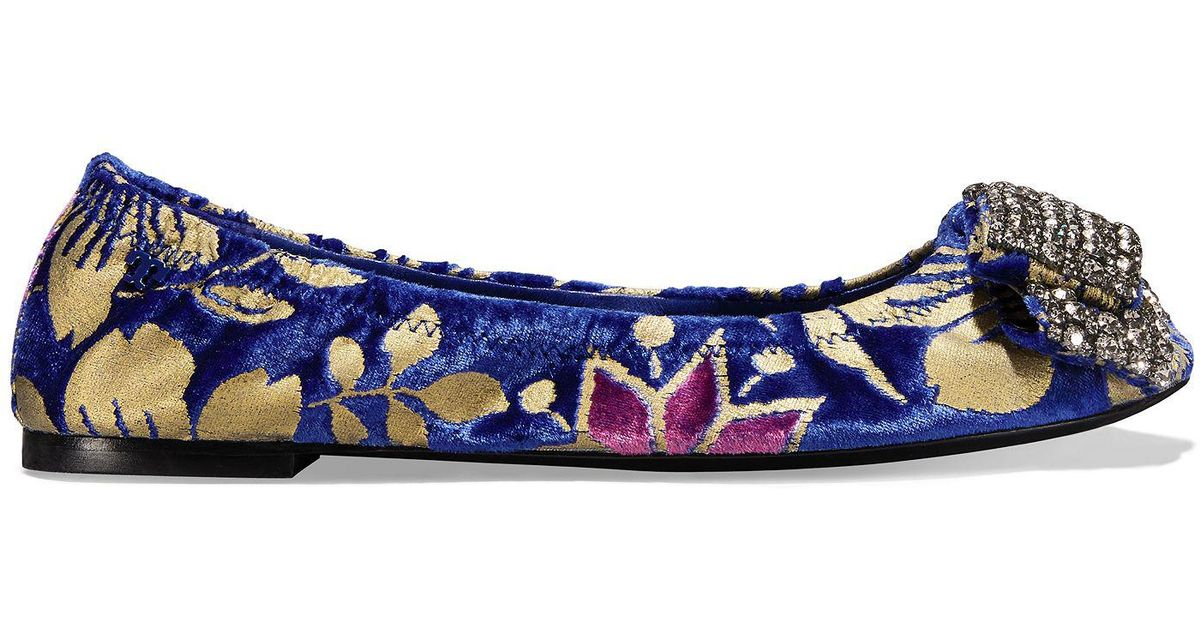 172bdfae947 Lyst - Tory Burch Viola Embellished Bow Ballet Flat