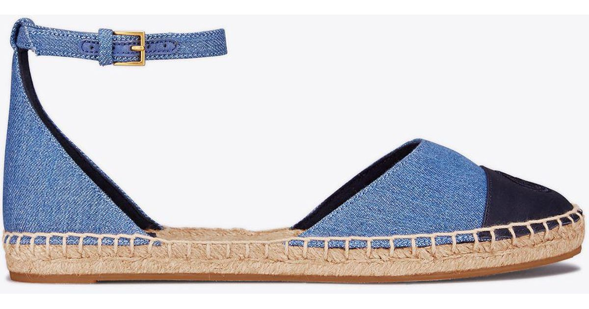 7db74c53faf Lyst - Tory Burch Ankle-strap Denim Espadrille in Blue