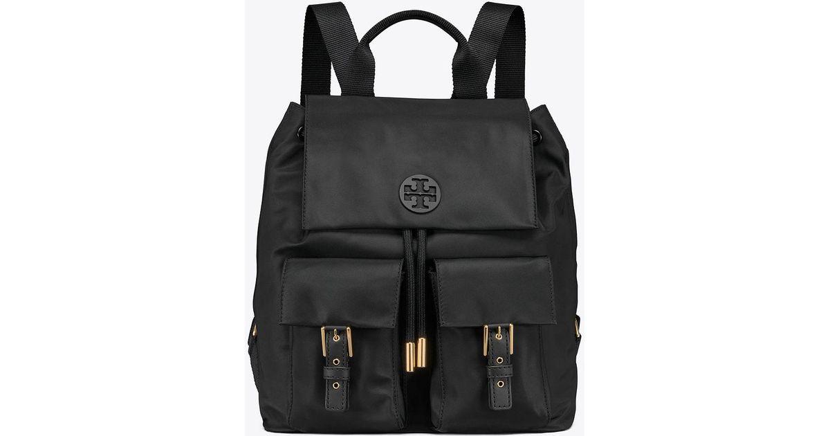 ea7488534cb Tory Burch Tilda Nylon Flap Backpack in Black - Save 12% - Lyst