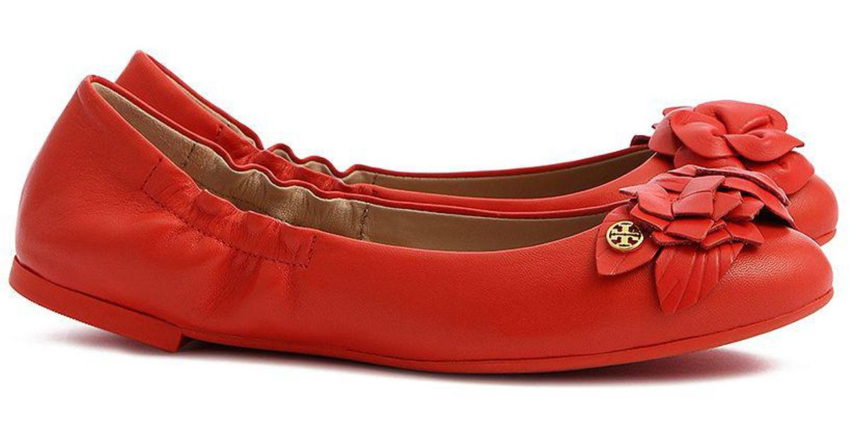 2efa8f0d79f Lyst - Tory Burch Blossom Ballet Flat in Red
