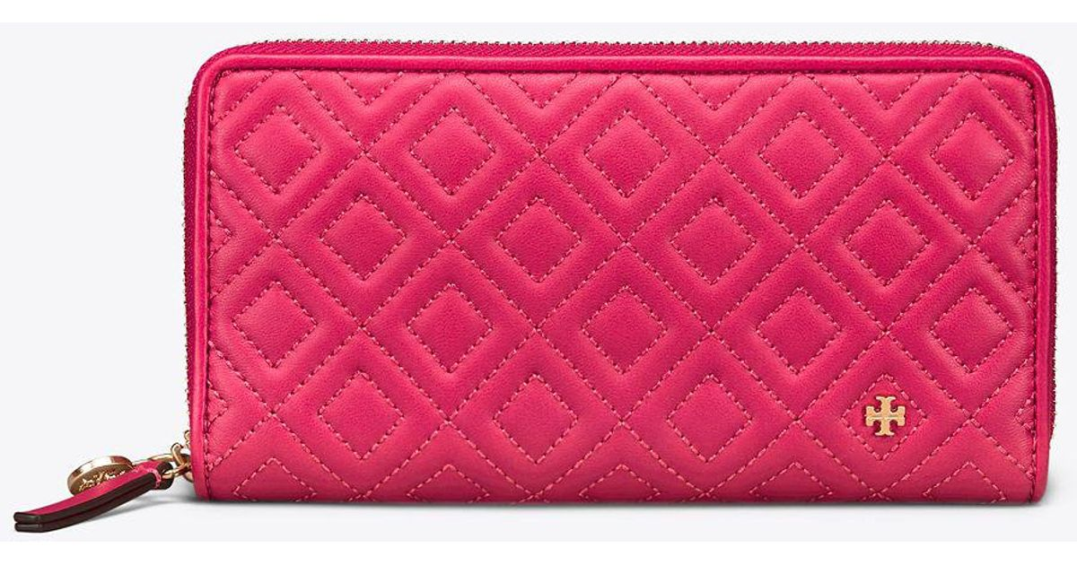 5eaff84c08 Tory Burch Fleming Zip Continental Wallet | 612 | Continental in Pink - Lyst