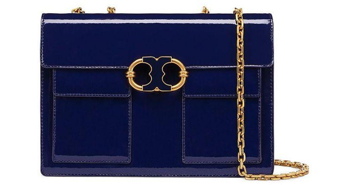 e97b9778891 Lyst - Tory Burch Gemini Link Patent Medium Chain Shoulder Bag in Blue