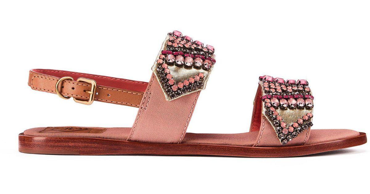 579e0c005 Lyst - Tory Burch Tanner Flat Sandal in Pink