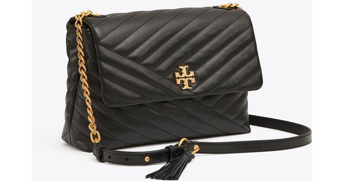 b43b03546fbf Lyst - Tory Burch Kira Chevron Flap Shoulder Bag in Black