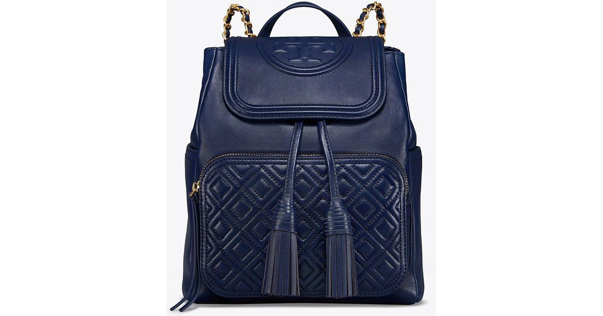 4de732f9f974 Tory Burch Fleming Leather Backpack in Blue - Save 26% - Lyst