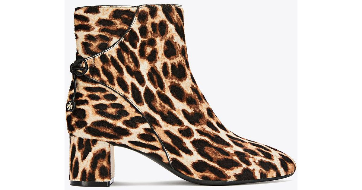 52e538c37268 Tory Burch Woman Bow-detailed Leopard-print Calf Hair Ankle Boots Animal  Print in Brown - Lyst