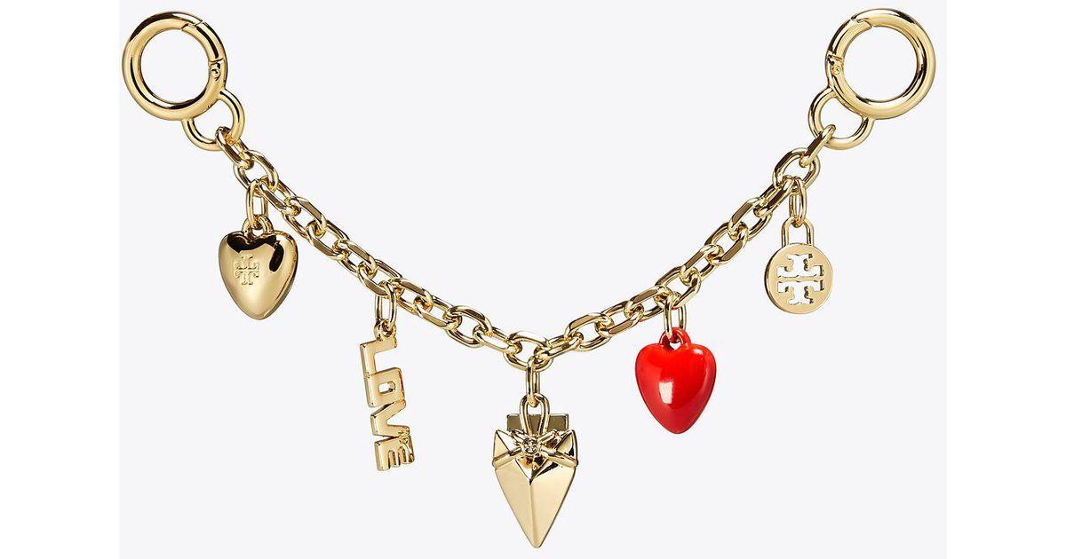 7633beb7a302 Lyst - Tory Burch Heart Chain Key Fob in Metallic