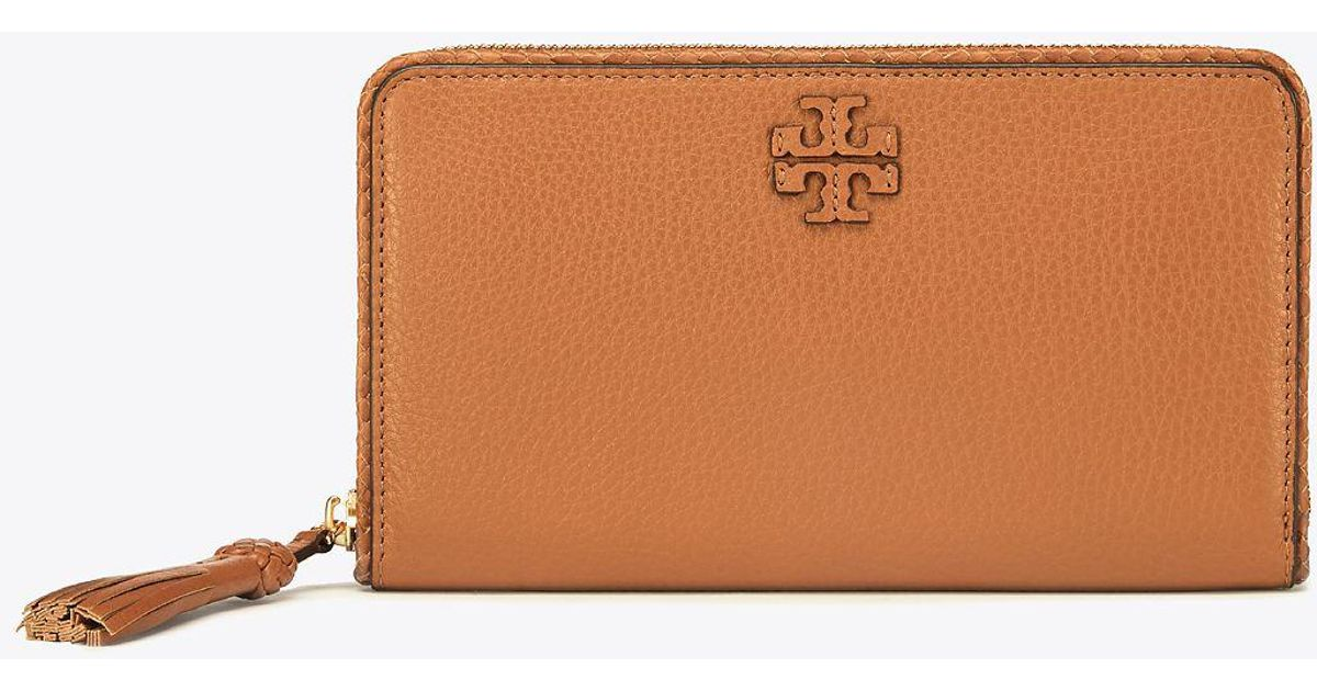Lyst - Tory burch Taylor Zip Continental Wallet in Brown
