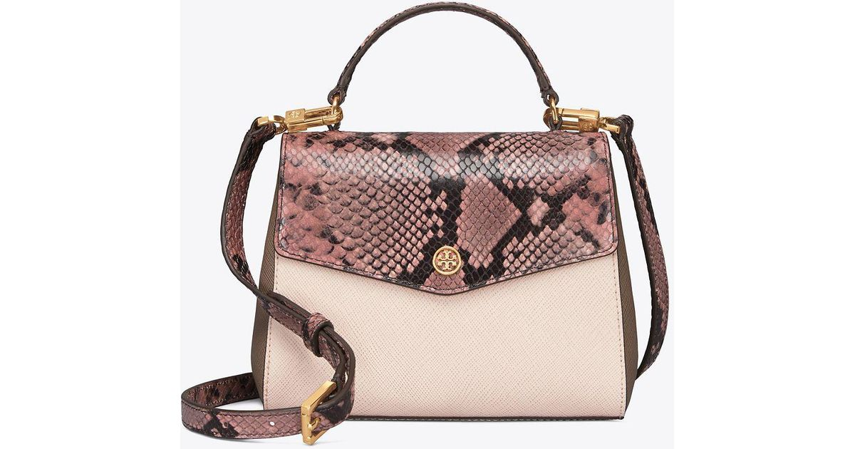 4f01c162bc9 Tory Burch Robinson Mixed-materials Top-handle Satchel in Pink - Lyst