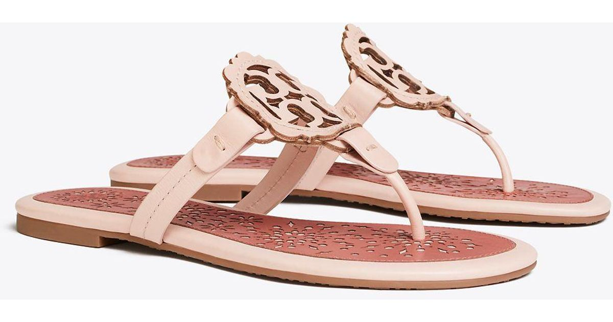 31864864f9f1 Lyst - Tory Burch Women s Miller Scallop Leather Thong Sandals in Pink -  Save 30%