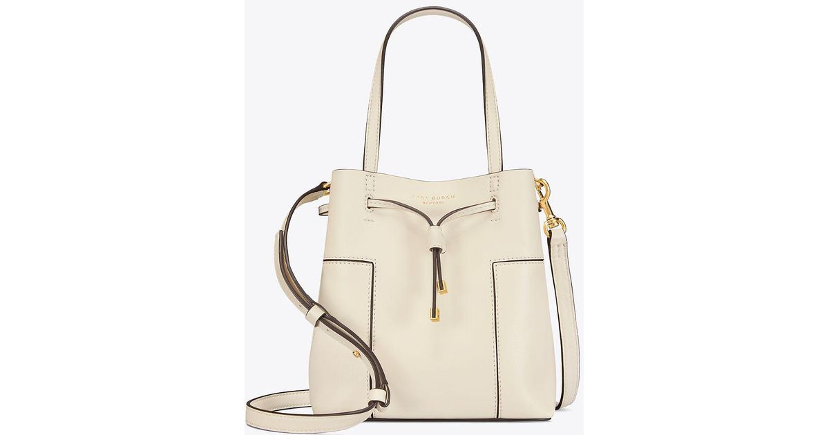 0e705e97884 Tory Burch - Natural Block-t Small Bucket Bag - Lyst