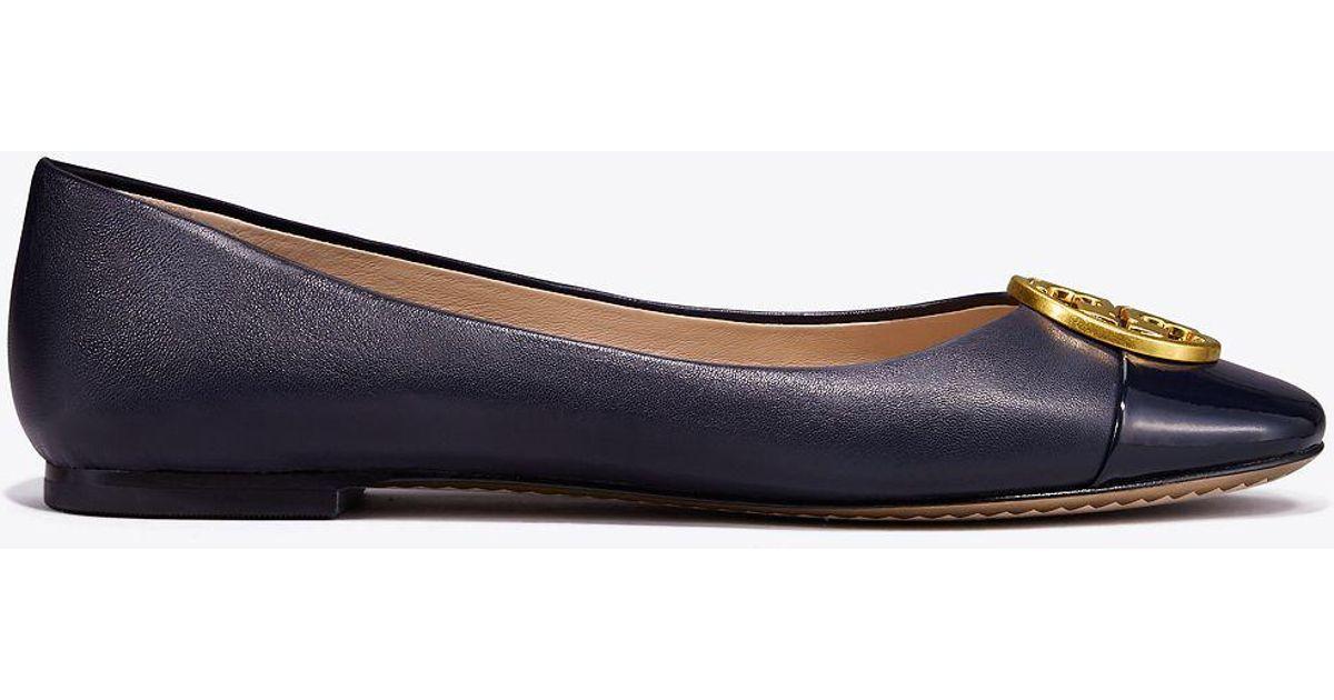 04156213baf Tory Burch Chelsea Cap-toe Ballet Flats in Blue - Save 51% - Lyst