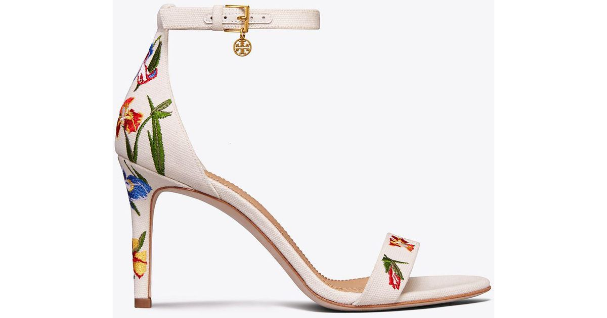 43b53db52cf7 Lyst - Tory Burch Ellie Embroidered Ankle-strap Sandal