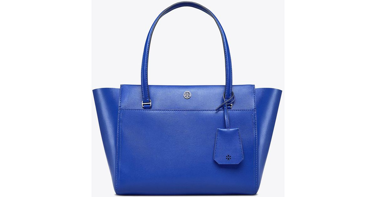 e115f3211af Lyst - Tory Burch Parker Small Tote in Blue