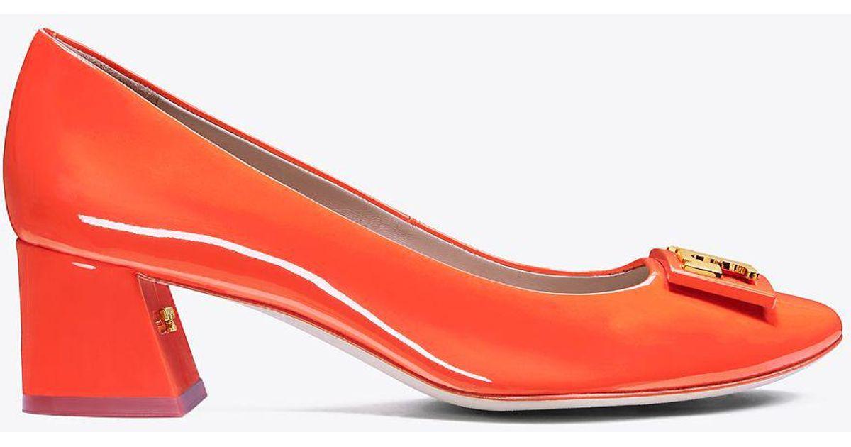 163af645a35 Lyst - Tory Burch Gigi Patent Mid-heel Pump in Red