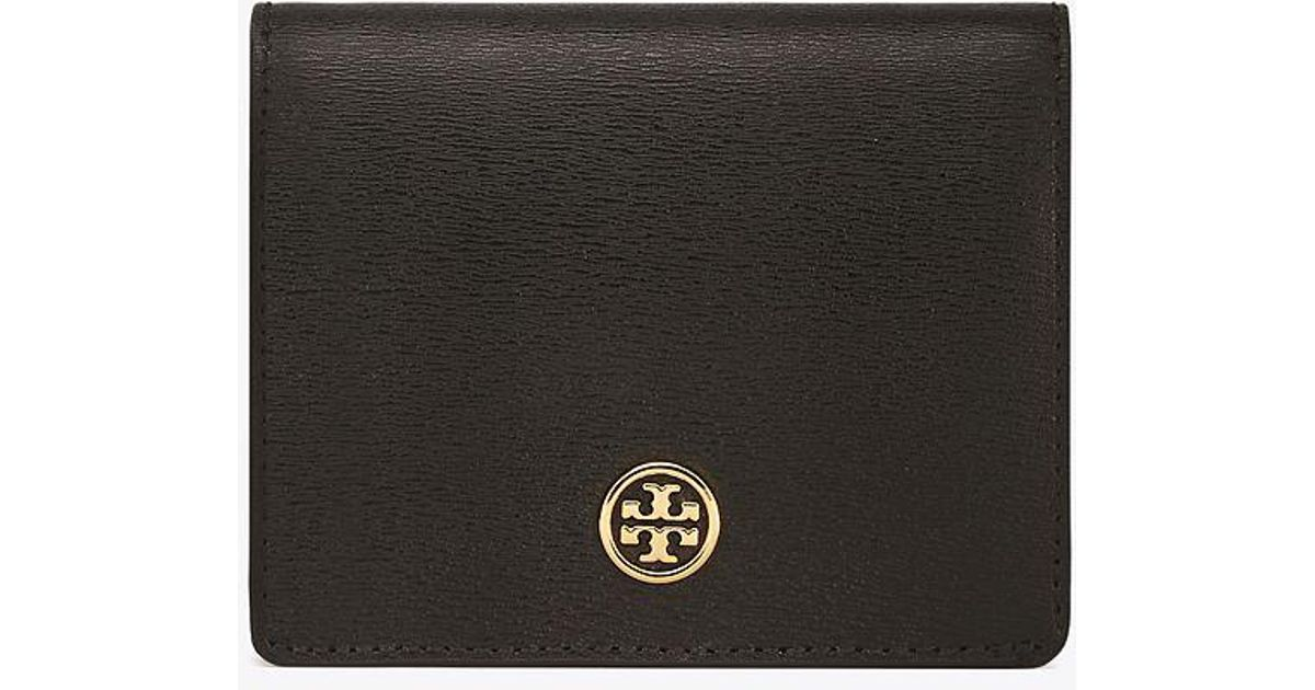 9f77cbf7dd90 Tory Burch Parker Foldable Mini Wallet in Black - Lyst