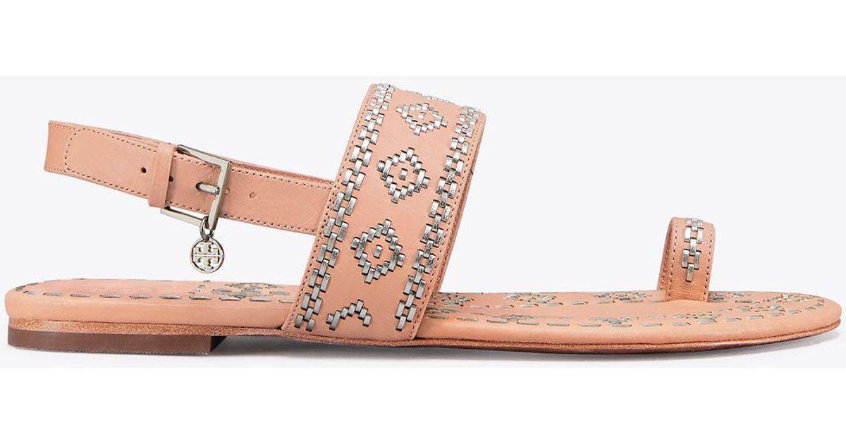 6e7bad0435cb58 Lyst - Tory Burch Blake Metallic-stitch Ankle-strap Sandal