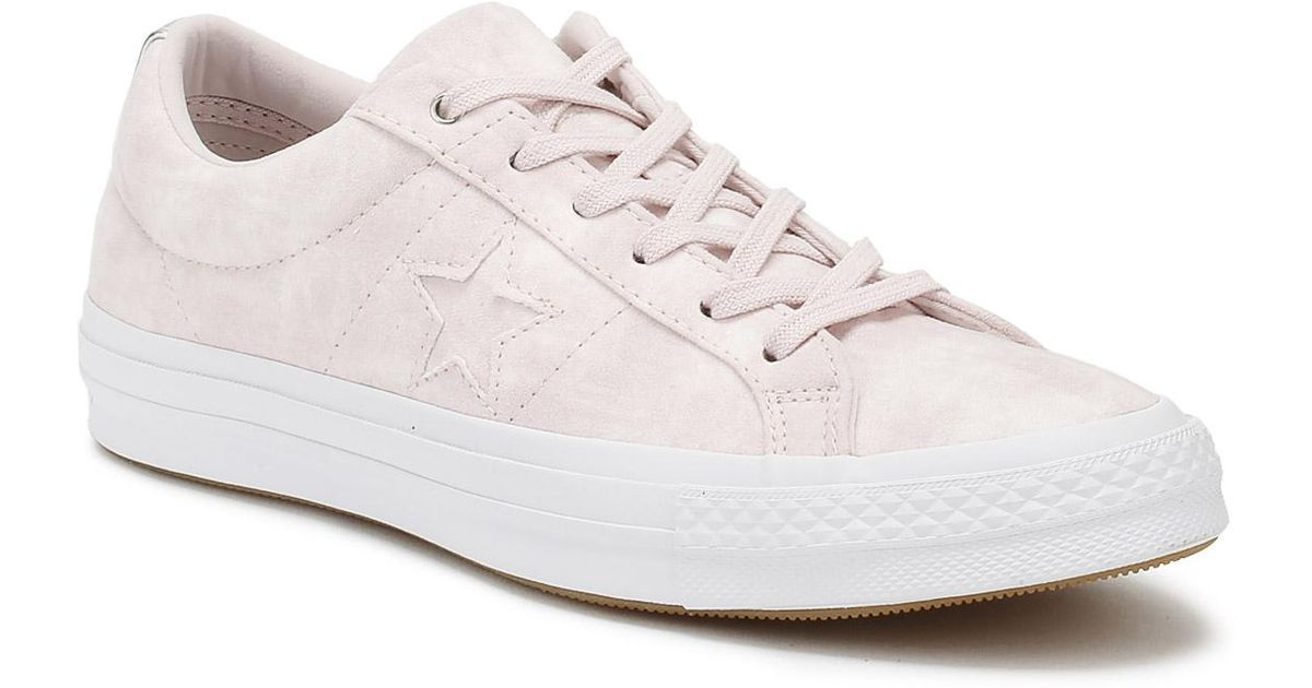 Converse White One Star Womens Barely Rose Canvas Ox Trainers