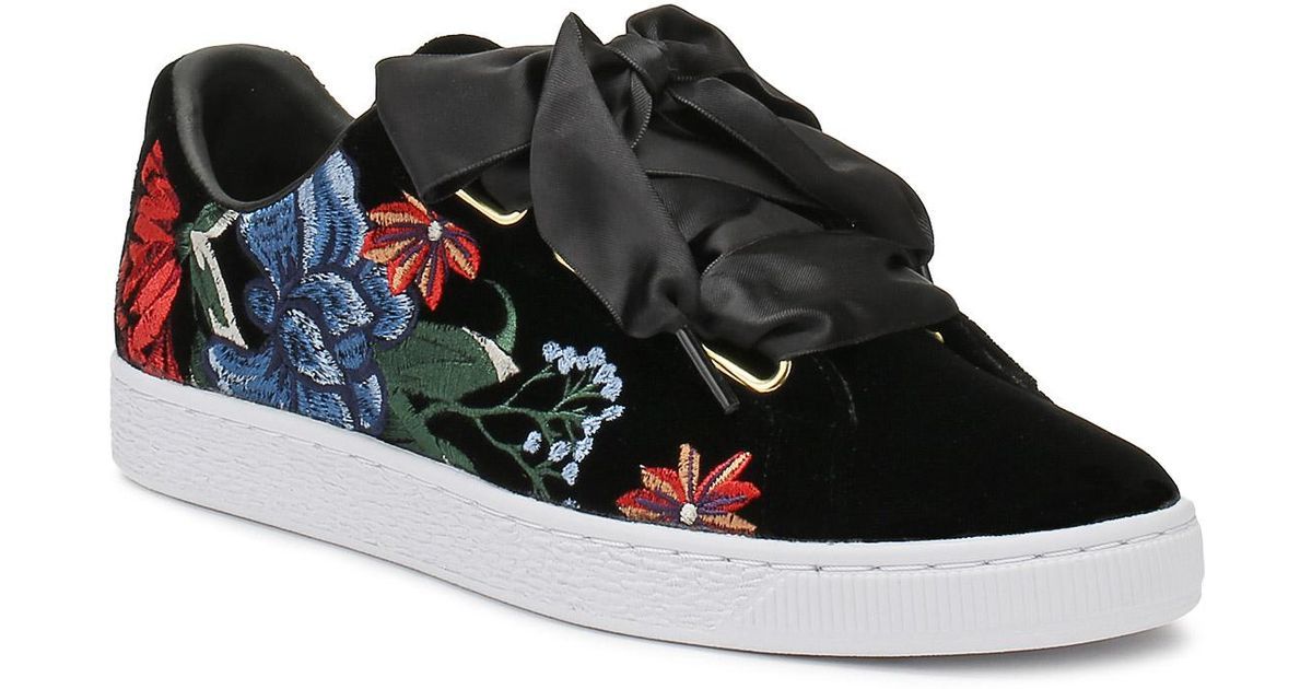 low priced d3cad dab42 Lyst - PUMA Womens Black Basket Heart Hyper Embroidery Trainers in Black