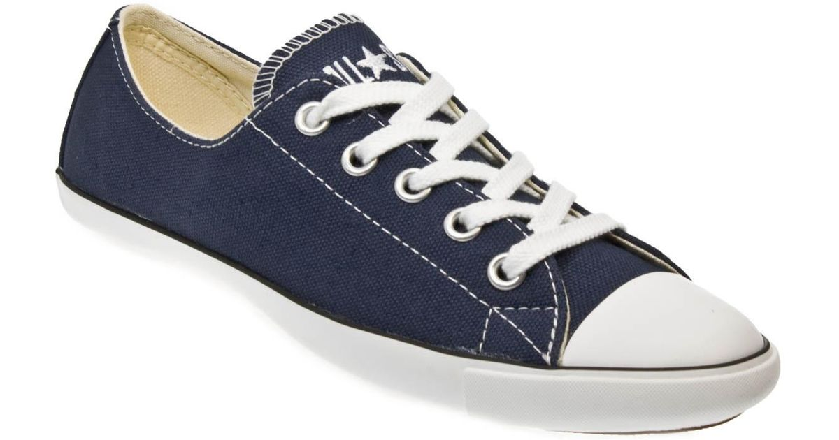 31bd3ffccd3 Lyst - Converse As Slim Ox Women Navy Blue And White Canvas Trainers in Blue