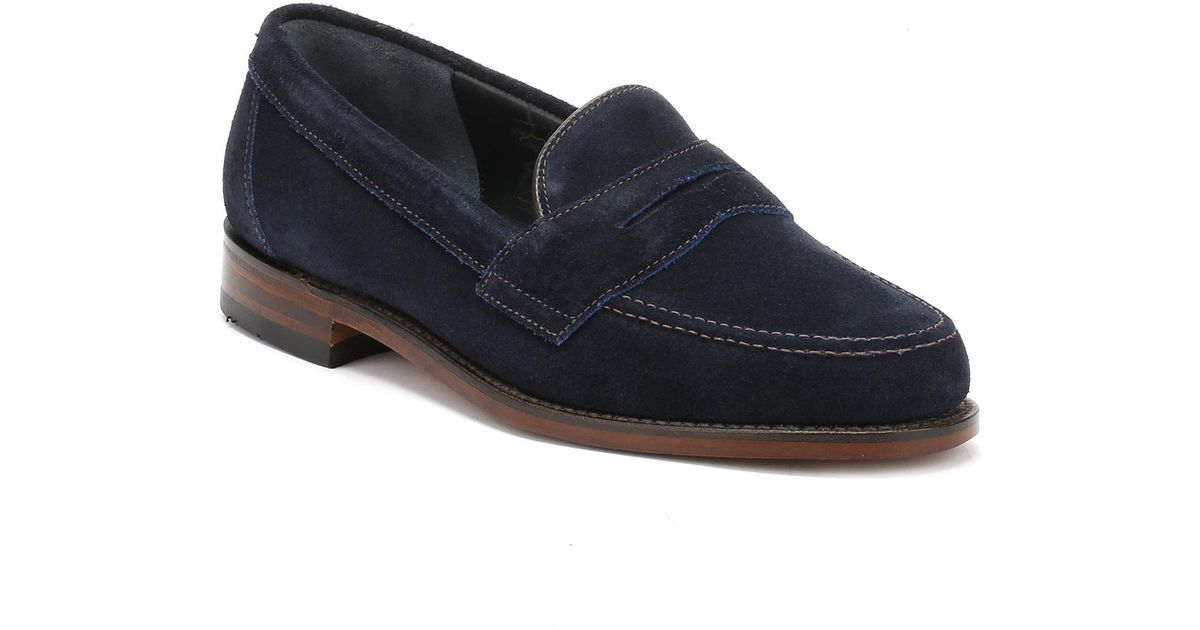 61890c7193326 Loake Mens Navy Eton Suede Loafers in Blue for Men - Lyst