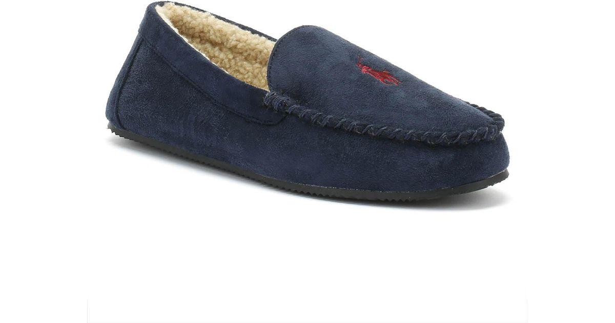 ddd49a07e Ralph Lauren Mens Navy Dezi Iv Moccasin Slippers in Blue for Men - Lyst