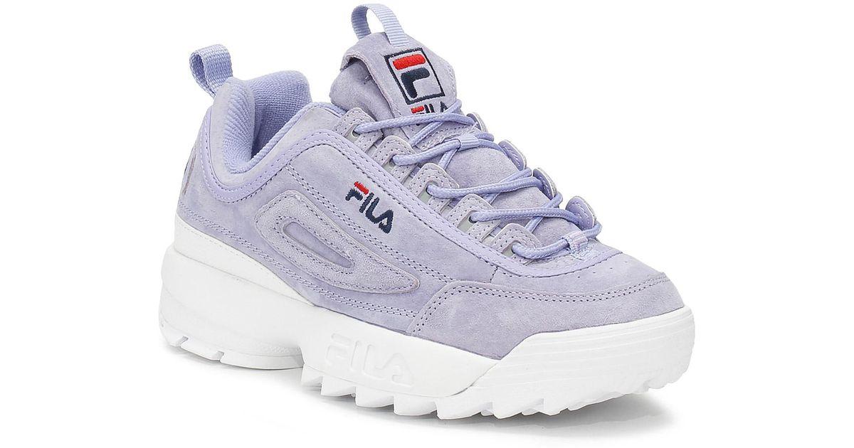 Lyst - Fila Disruptor Ii Womens Sweet Lavender Premium Suede Trainers in  Blue 2a3337ee38