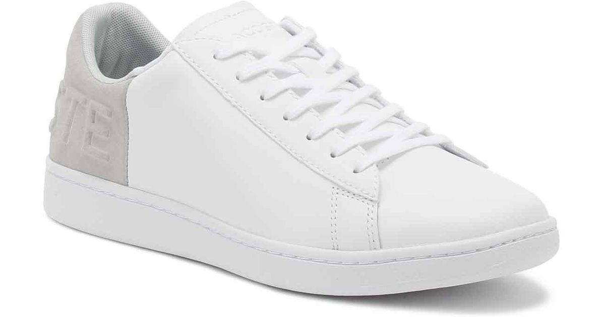 ccefd09d78cded Lacoste Womens White   Light Grey Carnaby Evo 318 3 Trainers in White - Lyst
