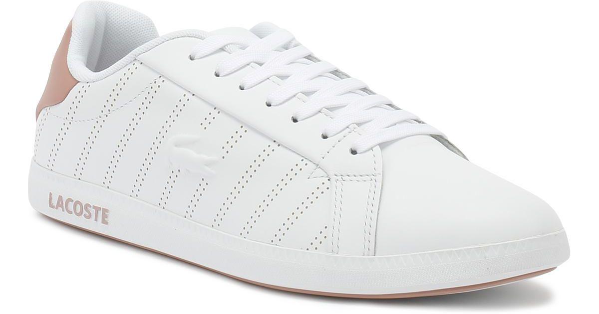 c0da85ca3ef1 Lacoste Womens White   Pink Graduate 318 1 Trainers in White - Lyst