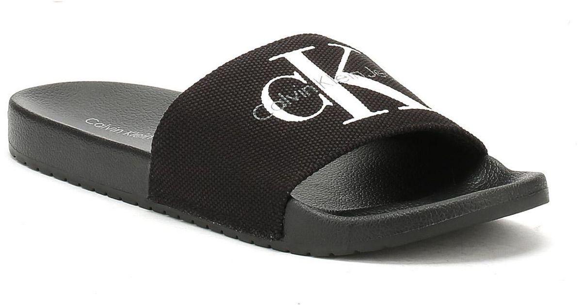 38677f5fd67 Calvin Klein Mens Black Viggo Slides in Black for Men - Lyst