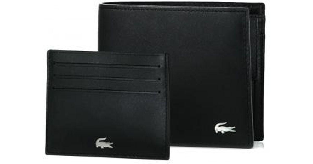 4a878fe090 Lacoste Billfold Coin Box in Black for Men - Lyst
