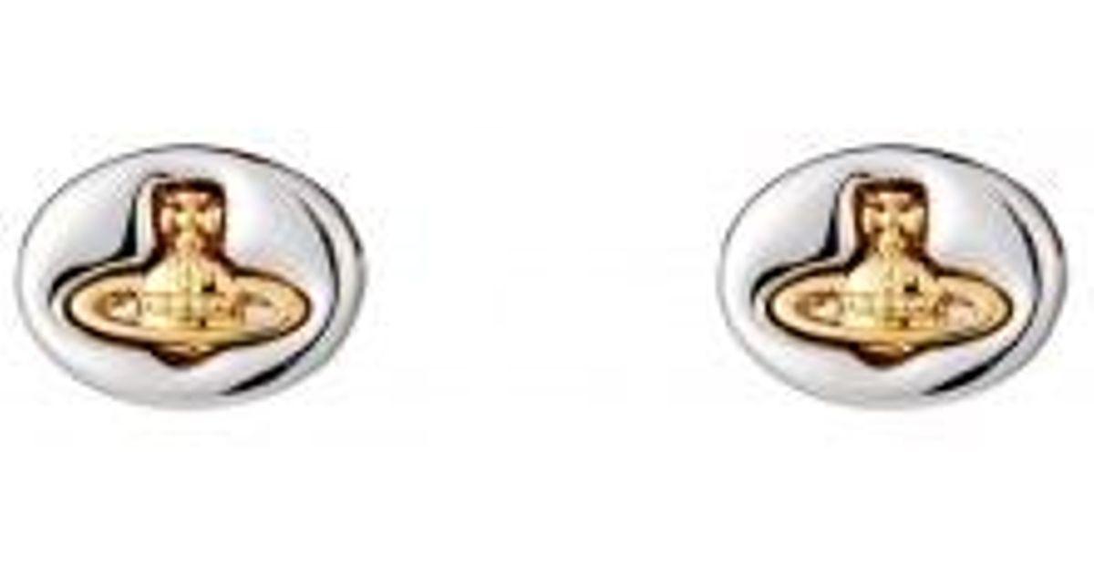 def1eb0a7 Vivienne Westwood Embossed Logo Stud Earrings in Metallic - Lyst