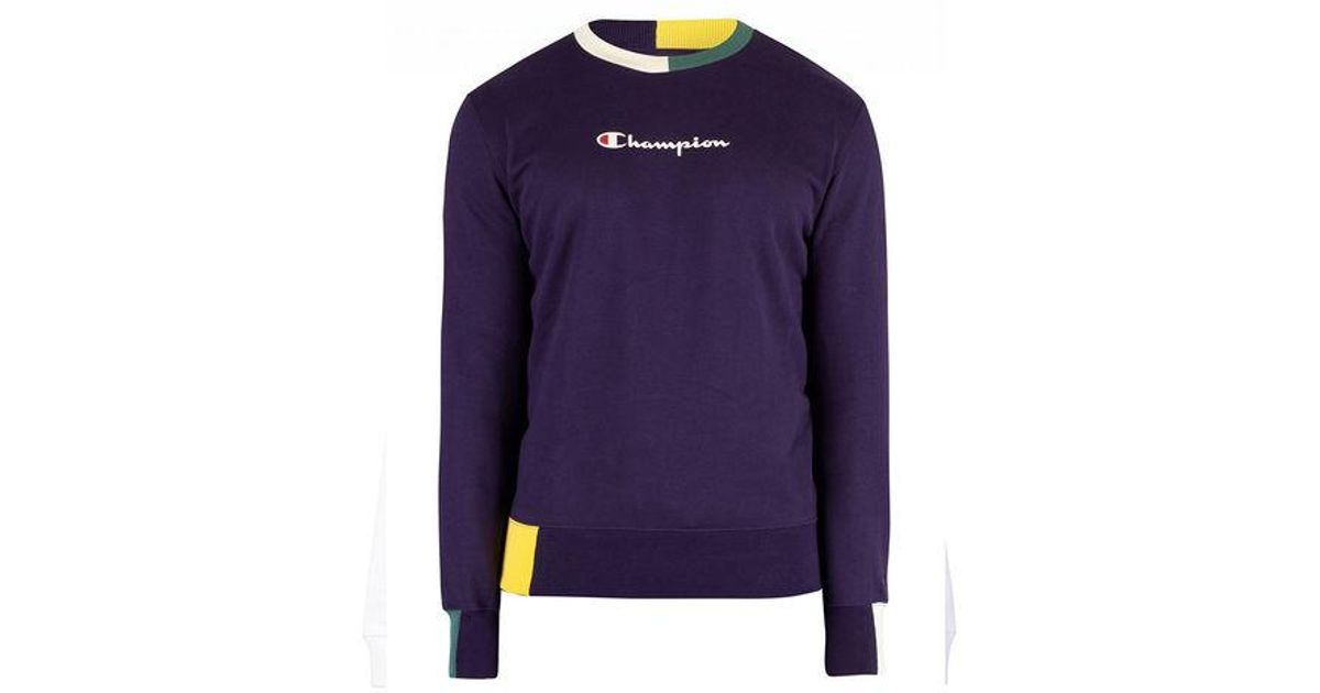37dcc494004a Champion Colour Block Trim Script Logo Crewneck Navy in Blue for Men - Lyst