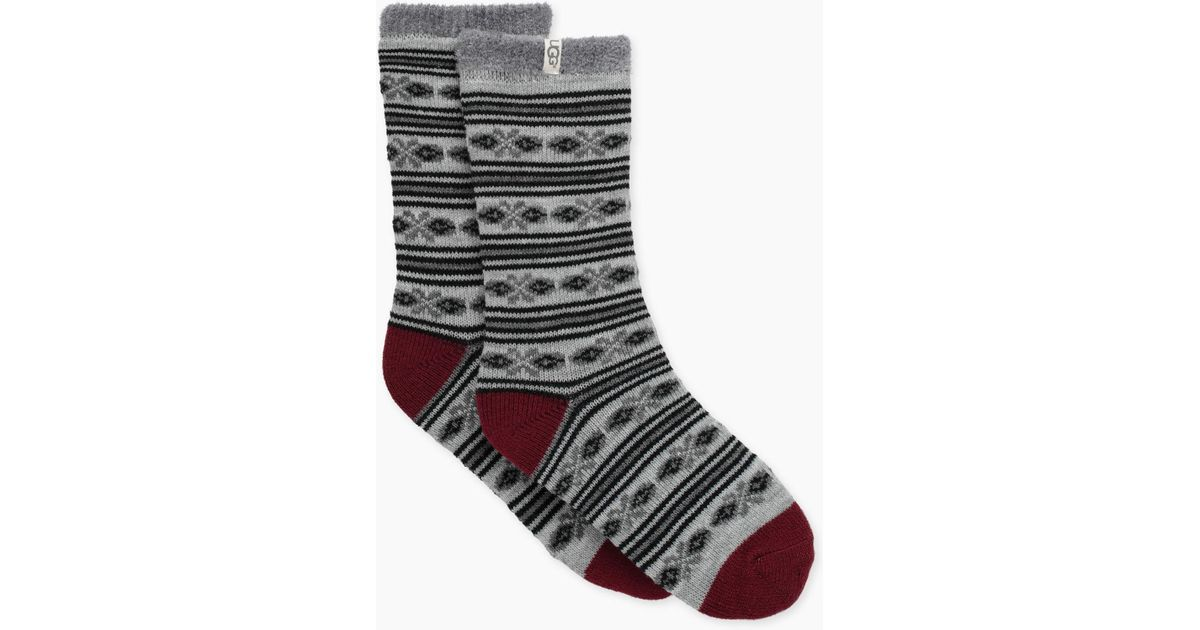 Lyst - Ugg Women's Fair Isle Fleece Lined Sock in Gray