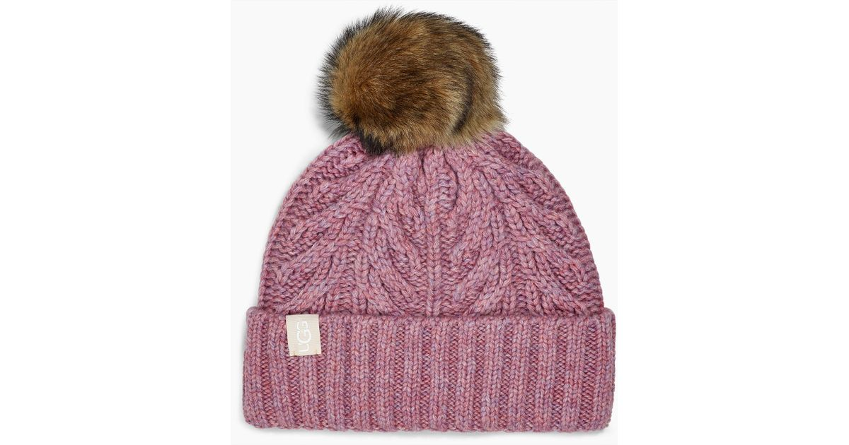d92479ea00d8a UGG Cable Pom Beanie Cable Pom Beanie in Pink - Lyst