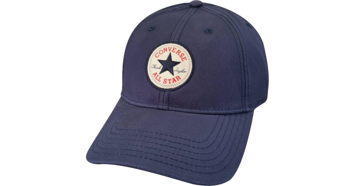 277fd45af332 Converse Navy Logo Patch Cotton Baseball Cap in Blue for Men - Save 56% -  Lyst