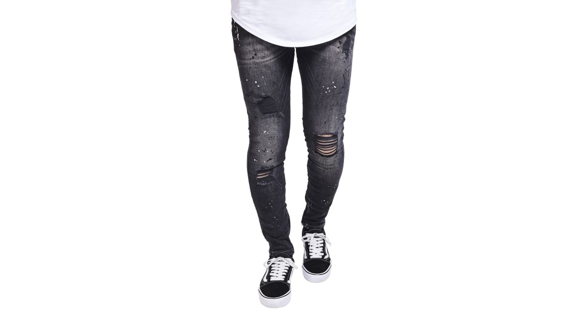 e19226e2bde Sik Silk Riot Low Rise Distressed Skinny Jeans in Black for Men - Lyst