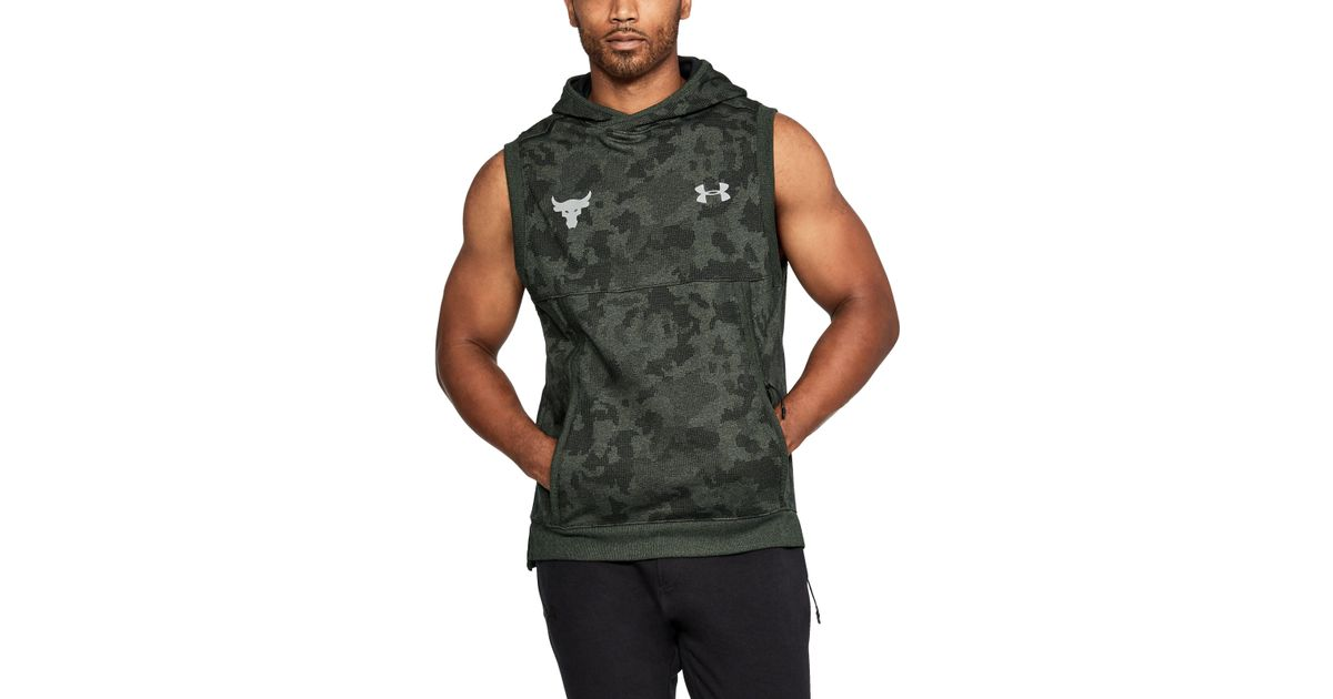 5589e0da65321 Lyst - Under Armour Project Rock Threadborne Sleeveless Hoodie in Green for  Men