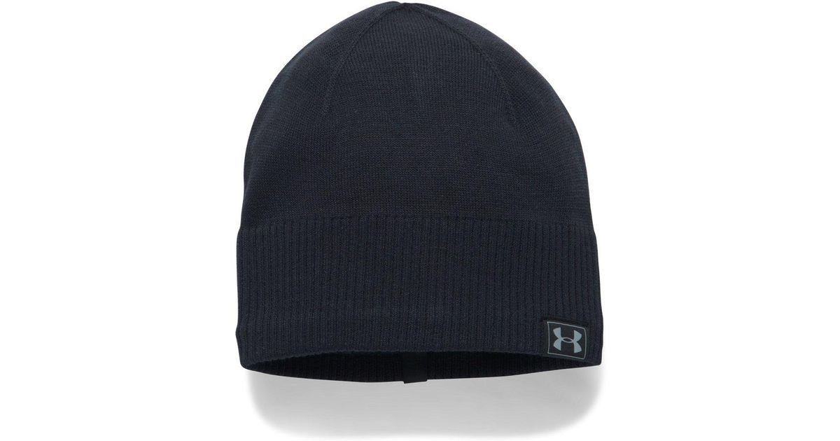 0227222d971 Lyst - Under Armour Coldgear Reactor Knit Beanie in Black for Men