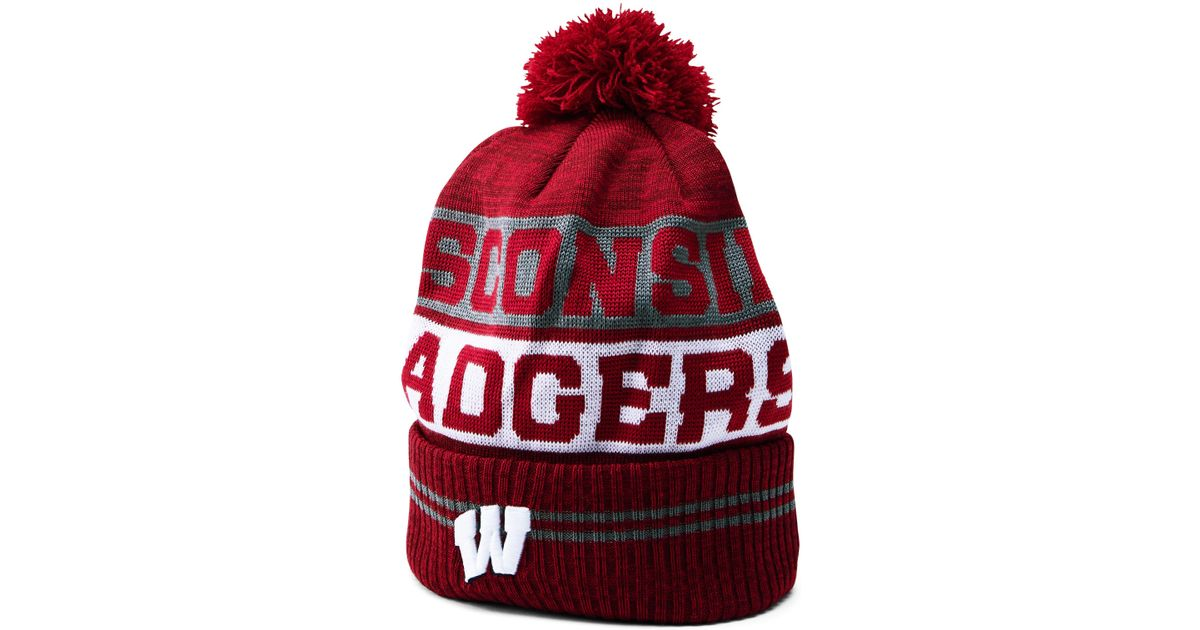 0152b8a3d7208 ... greece lyst under armour mens wisconsin ua pom beanie in red for men  f027b 9b6c8