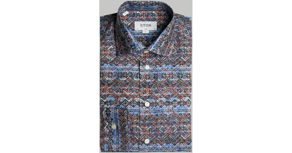 Lyst - Eton of sweden Slim Fit Fair Isle Print Pointed Collar ...