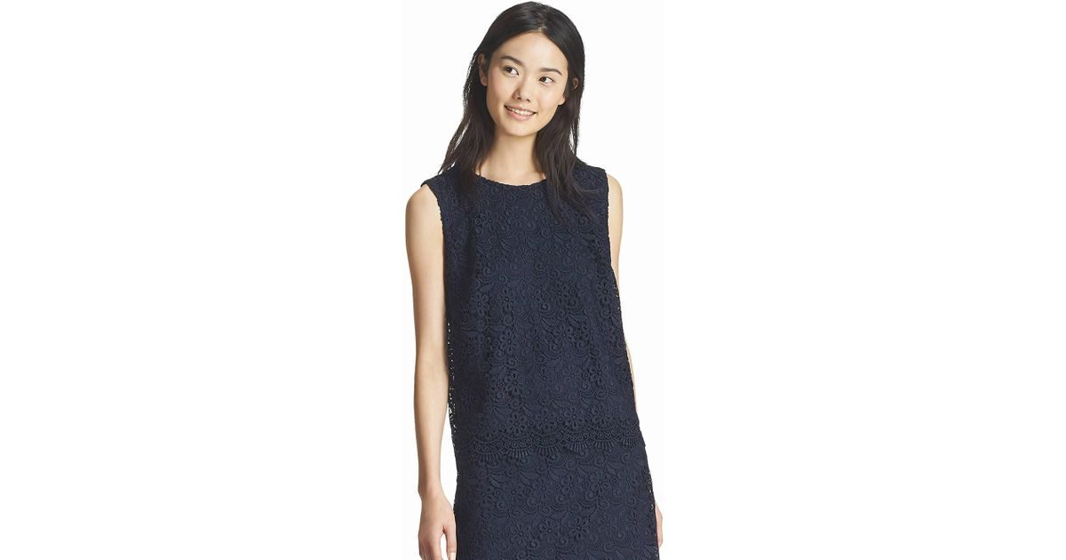 0a863f12c26d4 Lyst - Uniqlo Women Lace Sleeveless T-shirt in Blue