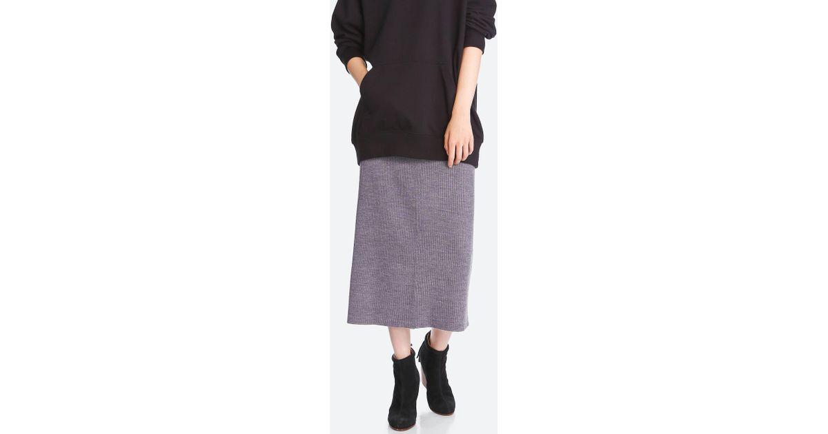 917bde82ae8e6c Lyst - Uniqlo Women Merino Blend Ribbed Skirt
