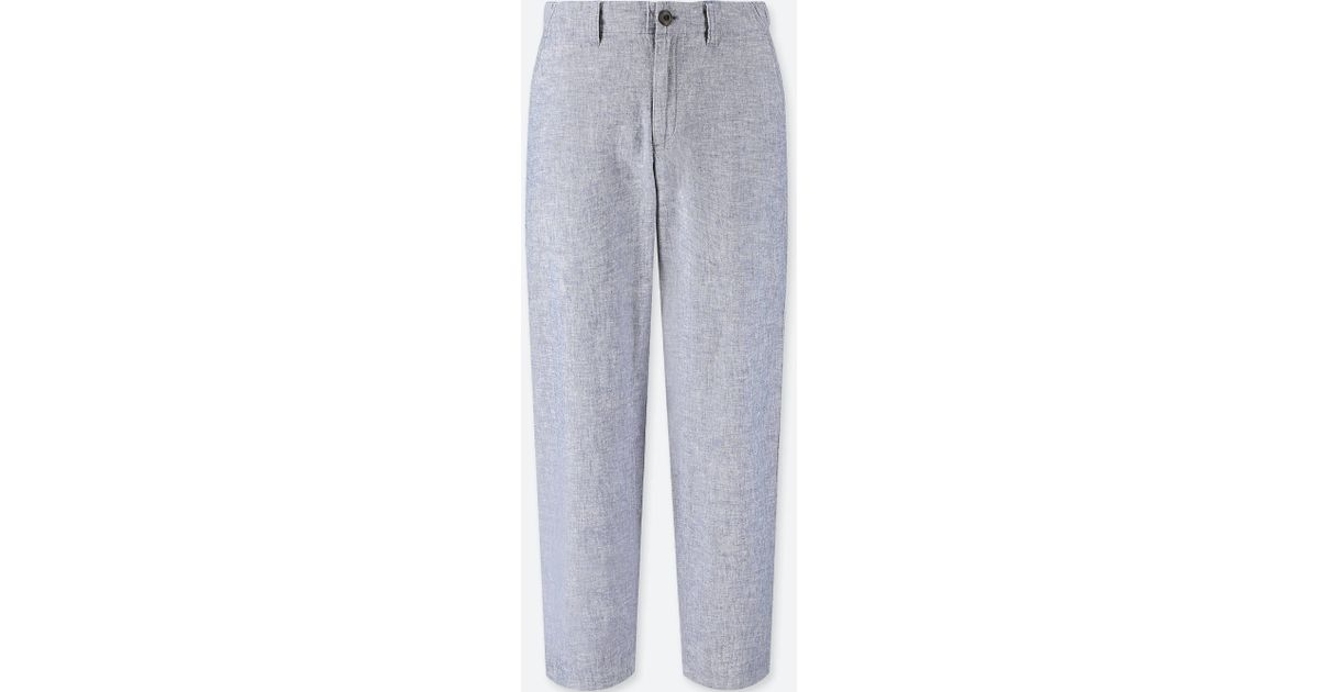 2019 clearance sale wide varieties biggest selection Uniqlo Women Cotton Linen Relaxed Pants in Blue - Lyst
