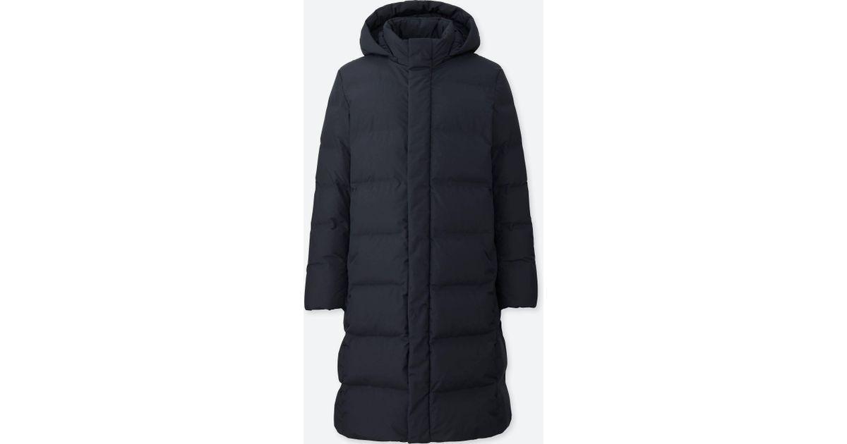 Lyst Uniqlo Men Seamless Down Long Coat In Blue For Men
