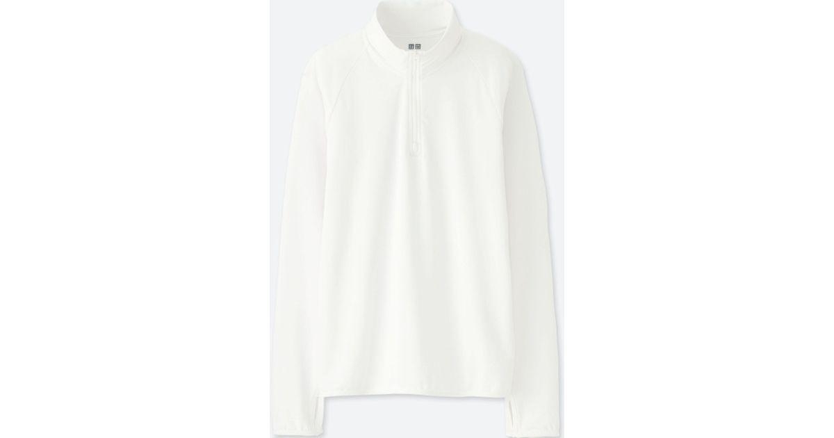 21c11b86 Uniqlo Airism Uv Cut Half Zip Mesh Long Sleeve T-shirt in White for Men -  Lyst