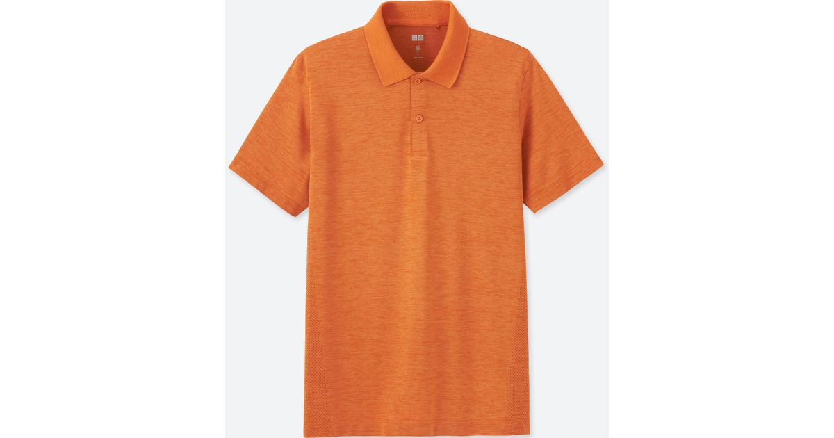 e229a05a ... sweden uniqlo men dry ex short sleeve polo shirt in orange for men lyst  0bf90 e4776