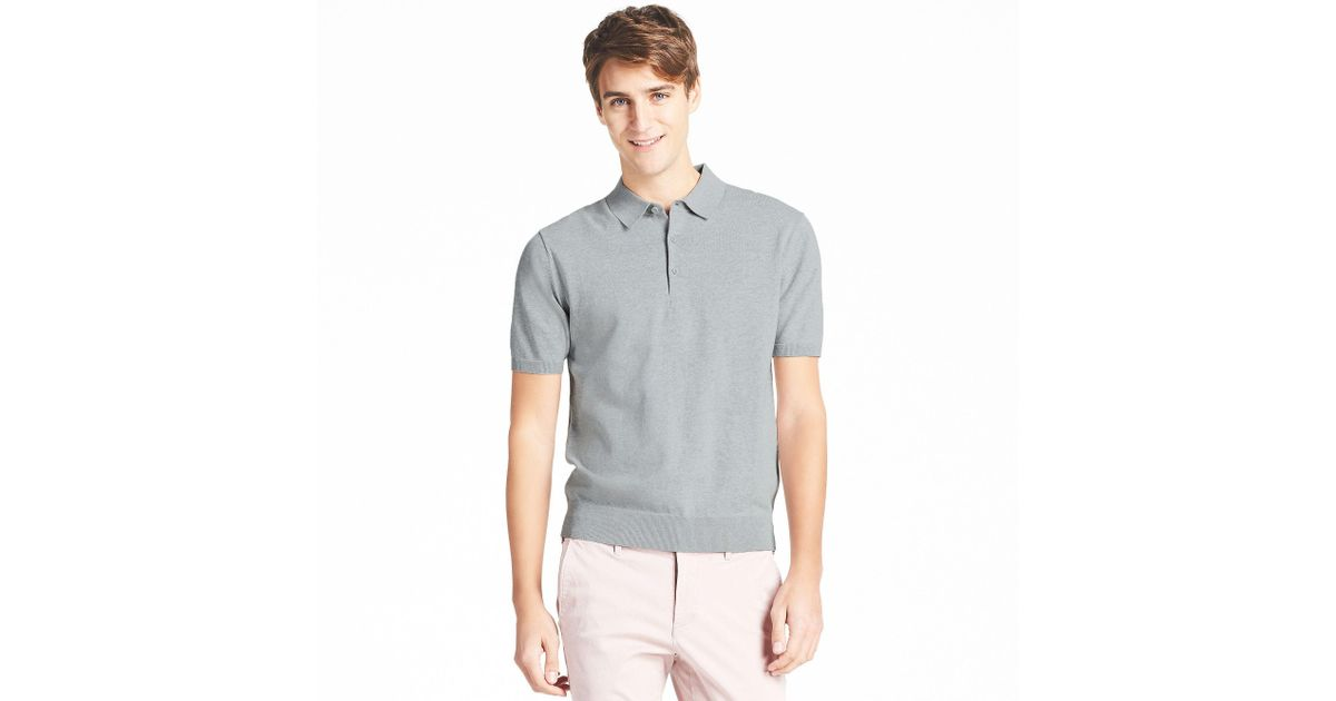 7847b819af4 Uniqlo Washable Knitted Short Sleeve Polo Shirt in Gray for Men - Lyst